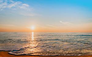 Bilder Meer Sonnenaufgänge und Sonnenuntergänge Himmel Sonne Horizont