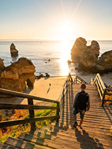 Image Sea Sunrise and sunset Portugal Stairway Cliff Beaches Camilo Beach Nature