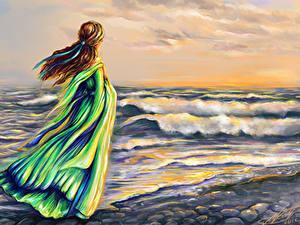Fonds d'écran Mer Vagues Aux cheveux bruns Les robes Fantasy Filles