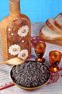 Bilder Meeresfrüchte Kaviar Flasche Dubbeglas Getreide
