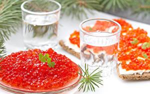 Bilder Meeresfrüchte Caviar Butterbrot Wodka Dubbeglas