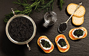 Bilder Meeresfrüchte Caviar Kekse