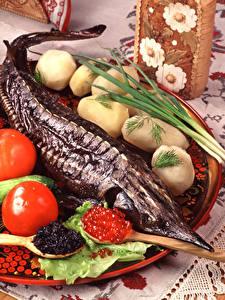 Hintergrundbilder Meeresfrüchte Fische - Lebensmittel Kaviar Kartoffel