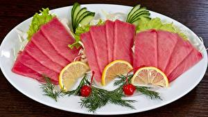 Images Seafoods Fish - Food Lemons Dill Plate Sliced food Tuna
