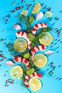 Fotos Meeresfrüchte Garnelen Zitrone Knoblauch Schwarzer Pfeffer Dill Farbigen hintergrund Lebensmittel