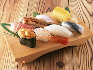 Fotos Meeresfrüchte Sushi Käse Bretter das Essen