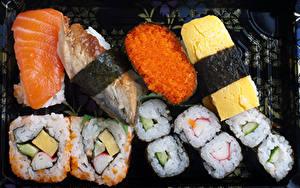Fotos Meeresfrüchte Sushi Fische - Lebensmittel Rogen das Essen