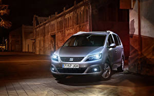 Pictures Seat Silver color Front Night time 2016 Seat Alhambra
