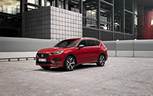 Bilder Seat Softroader Rot Metallisch Hybrid Autos Tarraco FR eHybrid, Worldwide, 2020 -- Autos