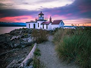 Wallpapers Seattle USA Park Sunrise and sunset Lighthouses Stones Path Grass Discovery Park, West Point lighthouse