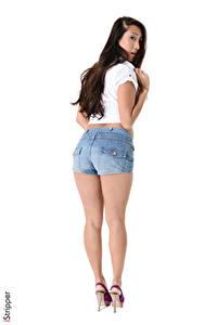 Hintergrundbilder Sharon Lee iStripper Asiaten Weißer hintergrund Brünette Blick Shorts Bein Stöckelschuh Mädchens