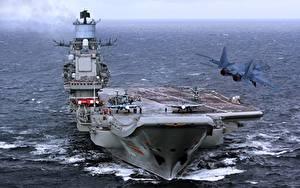 Hintergrundbilder Schiffe Flugzeugträger Russische Russian aircraft carrier Admiral Kuznetsov Heer