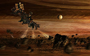 Pictures Ships Asteroid spacecraft light space unknown sci fi Fantasy Space 3D_Graphics