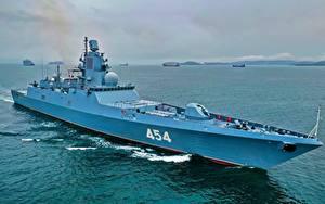Desktop hintergrundbilder Schiffe Russischer Frigate, 22350, Admiral Gorshkov Heer