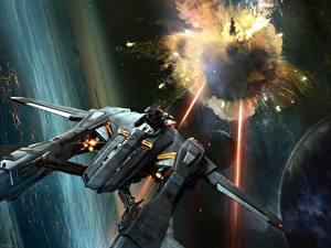 Pictures Ship Star Citizen Firing Games Fantasy Space