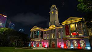 Desktop hintergrundbilder Singapur Haus Uhr Nacht Raffles Place Städte