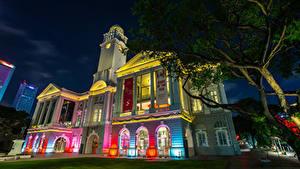 Papel de Parede Desktop Singapura Edifício Relógio Noite Raffles Place Cidades