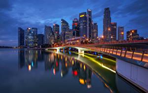 Fotos Singapur Gebäude Wolkenkratzer Nacht Städte