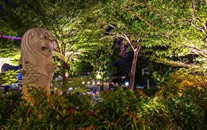 Bilder Singapur Parks Skulpturen Ast Merlion Park Natur