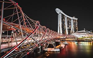 Desktop hintergrundbilder Singapur Flusse Brücken Nacht Marina Bay Sands Städte