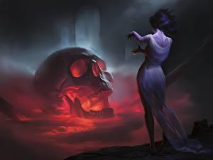 Hintergrundbilder Cranium Gothic Fantasy Kleid Fantasy Mädchens