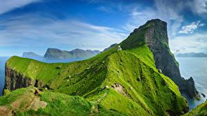 Fotos Himmel Insel Leuchtturm Dänemark Wolke Felsen Kalsoy, Faroe Islands Natur