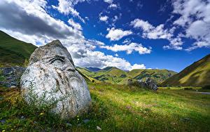 Bilder Himmel Gebirge Steine Georgien Grünland Wolke Upper Svaneti, Sno Natur