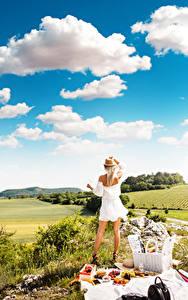 Fotos Himmel Picknick Blondine Gras Der Hut Kleid Hinten Wolke junge Frauen