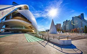 Fotos Himmel Spanien Sonne Stadtstraße HDRI Valencia, Ciudad de las Artes y las Ciencias