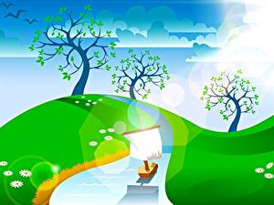 Hintergrundbilder Himmel Sommer Vektorgrafik Bäume Bach Wolke