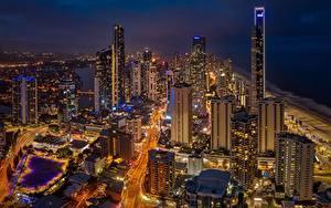 Bilder Wolkenkratzer Gebäude Australien Nacht Queensland, Gold Coast Städte