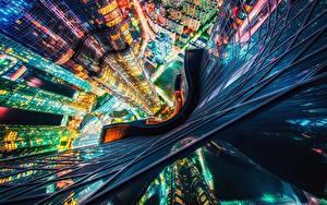 Fotos Wolkenkratzer Südkorea Von oben Nacht Busan
