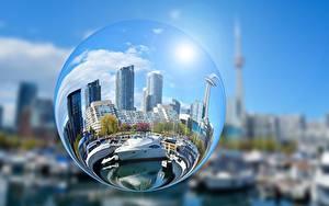 Fotos Wolkenkratzer Yacht Kugeln Kreise Glas Spiegelung Spiegelbild Städte
