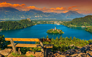 Fotos Slowenien See Gebäude Insel Landschaftsfotografie Bank (Möbel) Bled Städte
