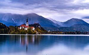 デスクトップの壁紙、、スロベニア、湖、山、海岸、住宅、Lake Bled、
