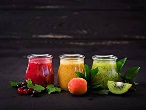 Bilder Smoothie Kiwi Pfirsiche Einweckglas Lebensmittel