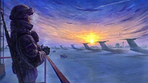 Fotos Soldaten Flugzeuge Winter Gezeichnet Sturmgewehr Russische Heer