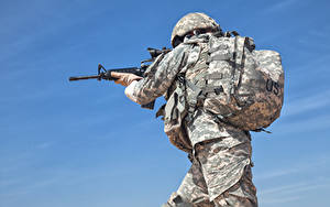 Wallpapers Soldiers Assault rifle Uniform Rucksack US Army