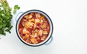 Fotos Suppe Kohl Weißer hintergrund Lebensmittel