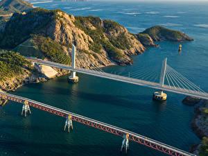 Fotos Südkorea Brücken Bucht Felsen Von oben Seonyudo Island Natur