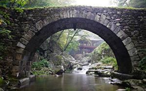 Wallpapers South Korea Temples Park Bridges Stones Streams Arch Gangwon-do Nature