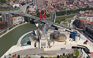 Hintergrundbilder Spanien Brücken Fluss Von oben Museum Guggenheim Museum, Bilbao, Biscay, Nervion River Städte