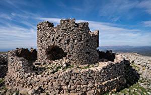 Desktop hintergrundbilder Spanien Burg Ruinen Steinern Castell de la Mola Natur
