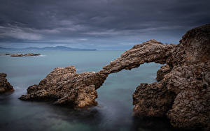 Photo Spain Coast Cliff Arch Girona Nature
