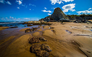 Bilder Spanien Küste Meer Himmel Wolke Felsen Sopela Natur