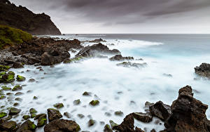 Papel de Parede Desktop Espanha Costa Pedra Mar Rocha Canary Islands, Tenerife