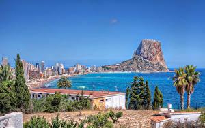 Bilder Spanien Haus Küste Felsen Bäume Calpe