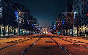 Hintergrundbilder Spanien Gebäude Straße Abend Stadtstraße Zaragoza Städte