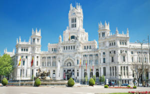 Bilder Spanien Madrid Springbrunnen Denkmal Palast Straßenlaterne Cybele Palace