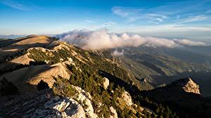 Hintergrundbilder Spanien Gebirge Wolke Von oben Catalonia